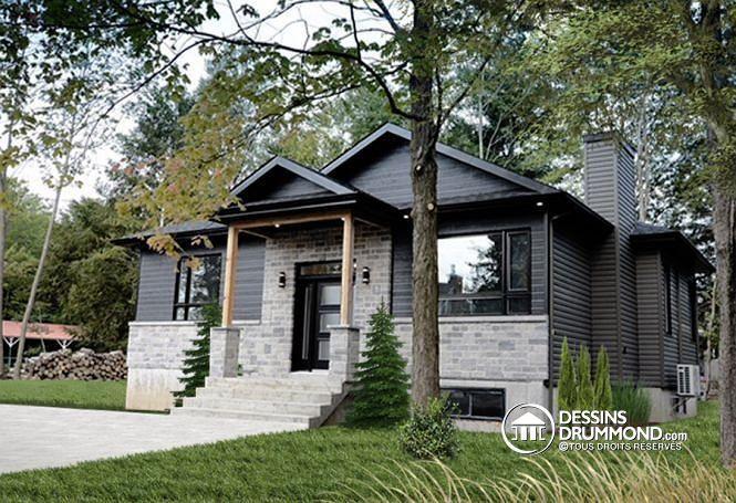 Vue avant Plan de maison à entrée split, style Craftsman rustique, 2 - plans de maison moderne
