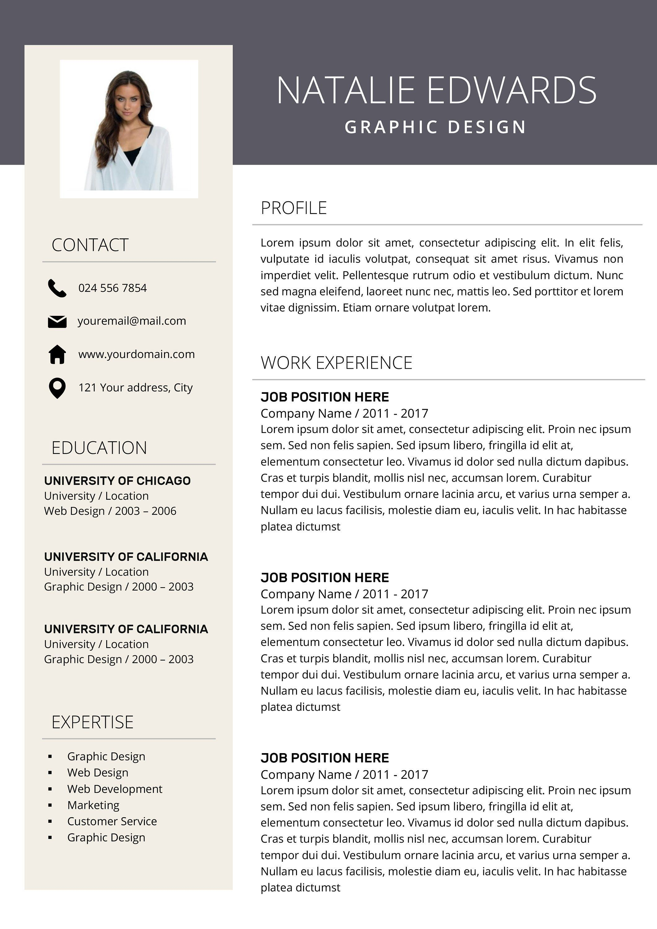 Resume Template Cv Cover Letter Creative Resume Resume