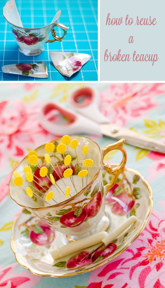 Beautiful Pincushion - How to Reuse a Broken Teacup ...