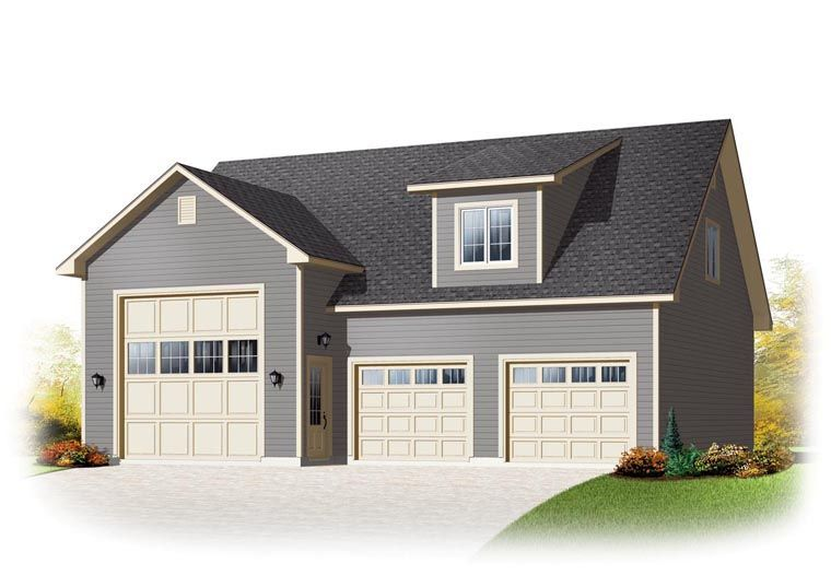Country Style 3 Car Garage Apartment Plan Number 76374 Rv Storage Garage Plans Detached Garage Plans With Loft Garage Loft