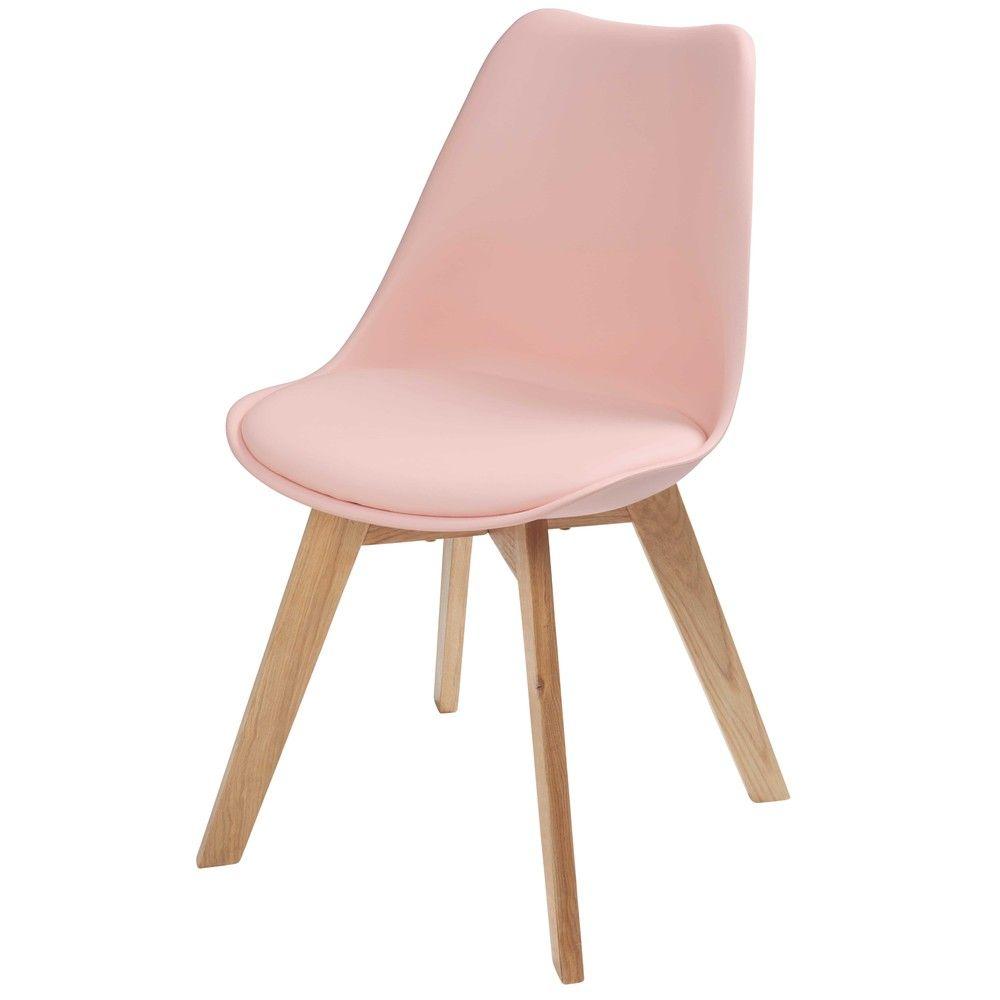 Chaise en polypropylne rose pastel et chne Ice Maisons du