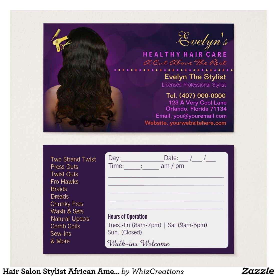 Hair Salon Stylist African American Appointment Zazzle