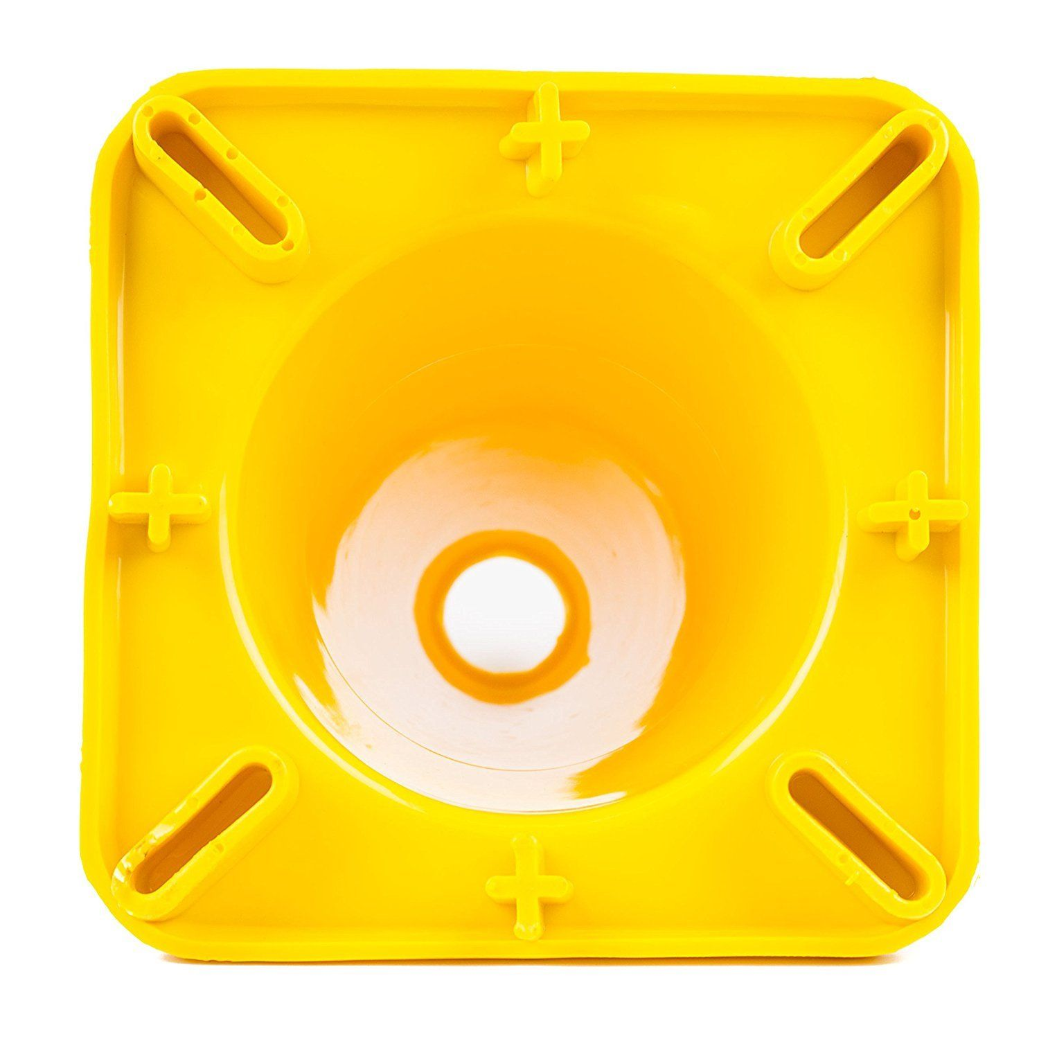 """(Set of 10) 12"""" PVC Traffic Safety Cones, Plain Yellow"""