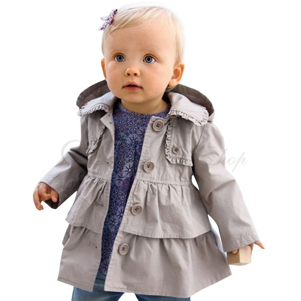 Baby Girls Kids Ruffle Wind Trench Coat Jacket Hooded Outerwear