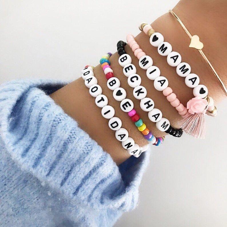 Personalized Custom Beaded Name Bracelets in 2020 ...