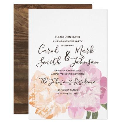 Monogram Watercolor Floral Spring Engagement Invitation script - engagement card template