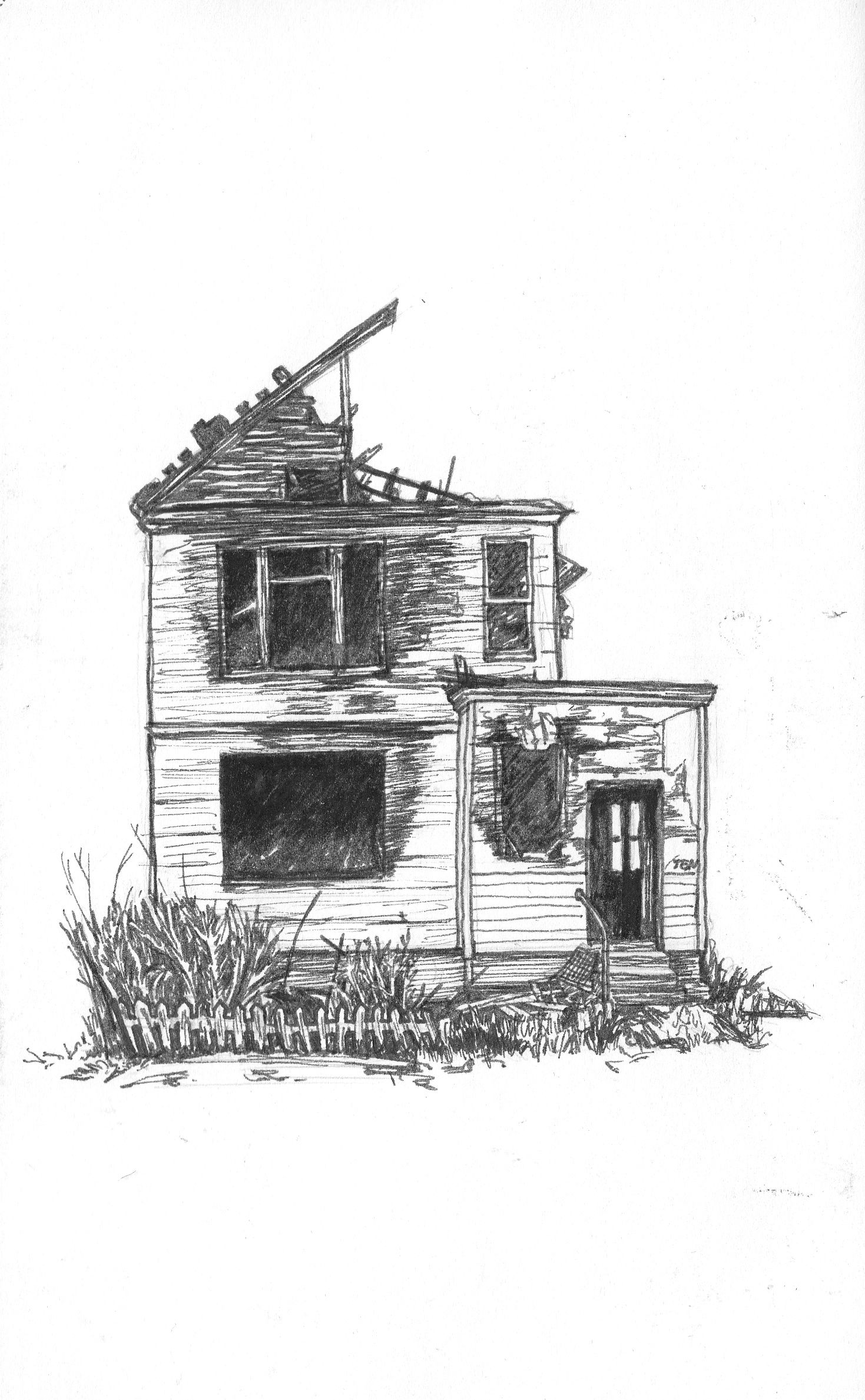 Mansion Drawing: Art-journal Ink Sketch Of An Abandoned House. By
