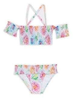 cda1972ba7c Pilyq Little Girl's & Girl's Two-Piece Floral Smocked Bikini Top & Bottom  Set