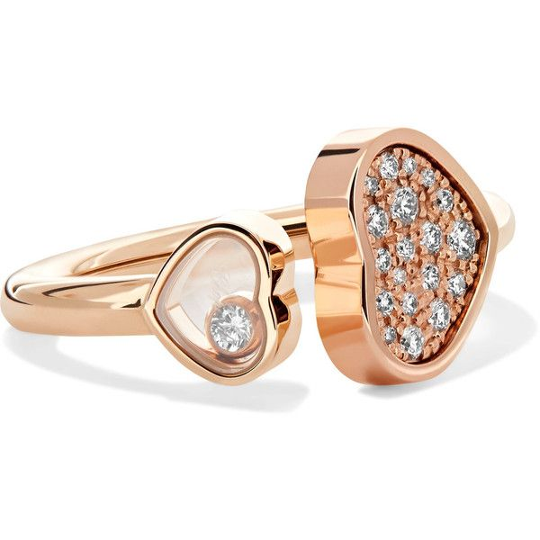 Chopard Happy Hearts 18-karat Rose Gold Diamond Ring urosy2LV