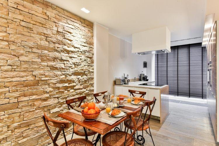 Wandgestaltung Steinwand Kuche Essbereich Modern Rustikal Kuchendesign Modern Kuche Umgestalten Kuchenumbau
