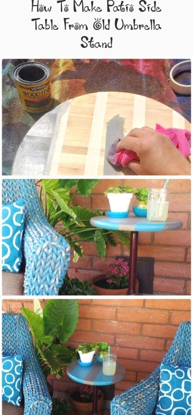 How To Make Patio Side Table From Old Umbrella Stand Outdoorumbrellastand Re Purpose Umbrella Stand Into Diy Patio Side Table For Easy Garde Patio Umbrella Stand Diy Patio Patio Side Table
