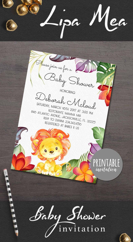 Lion Baby Shower Invitation Jungle Baby Shower Invitation Tropical ...