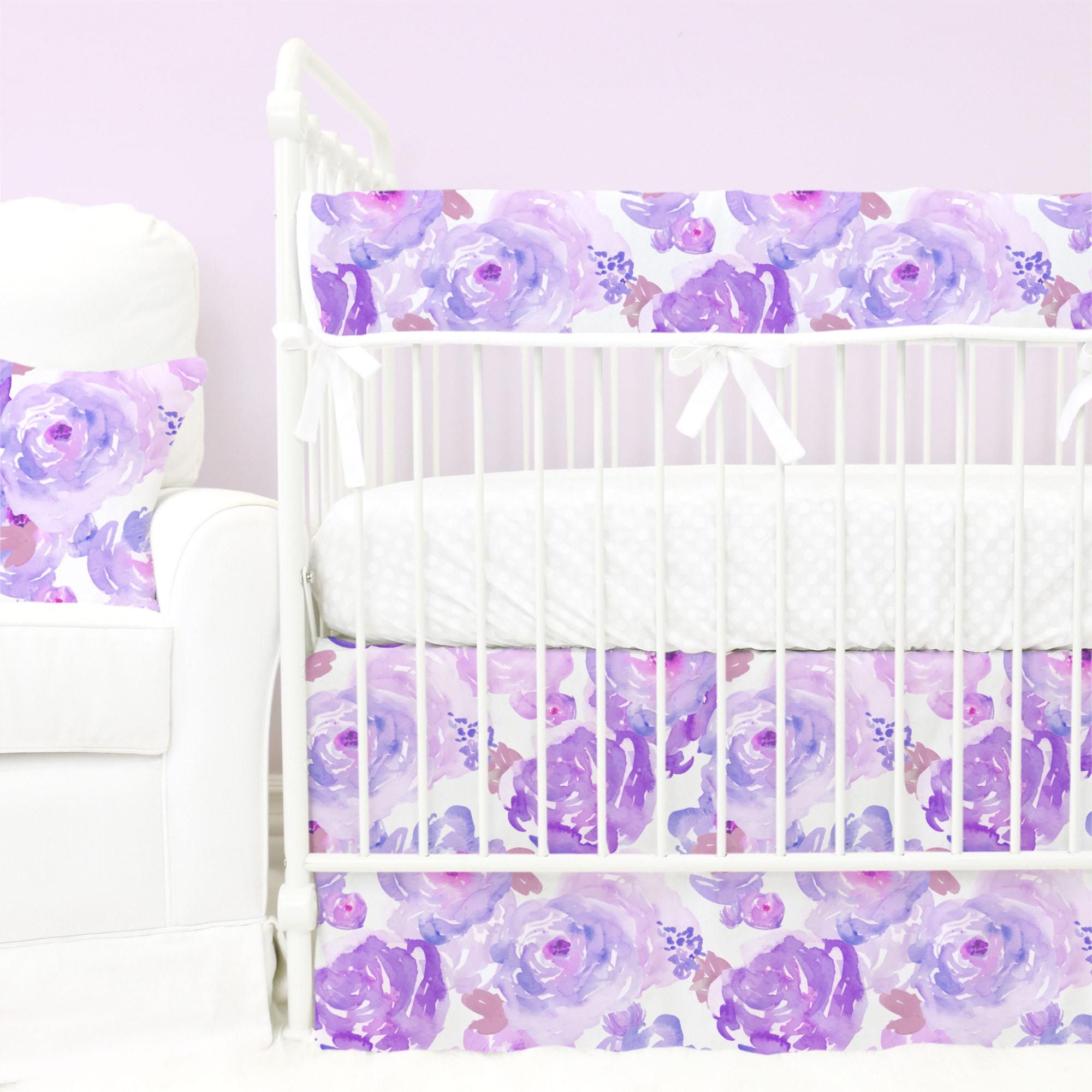 Watercolor Purple Floral With Lilac And Blush Bumperless Crib