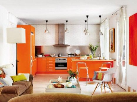 Naranja para tu Cocina Orange kitchen and Kitchens
