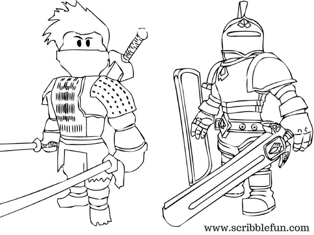 Roblox Coloring Pages Knight and Ninja | fgs | Coloring pages ...
