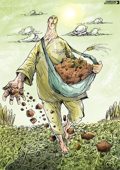 A prerequisite for sustainable growth: rich soil. Today's cartoon by Oleksy Kustovsky.