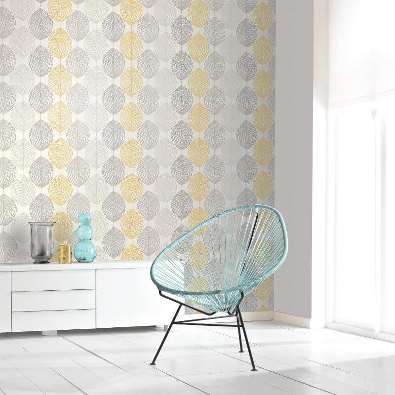 Arthouse Imagine Wallpaper Scandi Leaf Yellow 698401