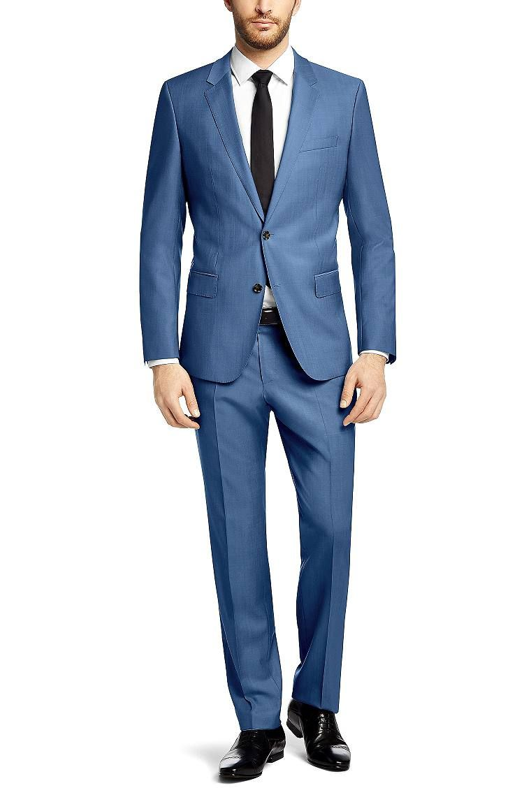 Slim-Fit Anzug ´Huge3/Genius2` aus Schurwolle, Blau | Wedding suit ...