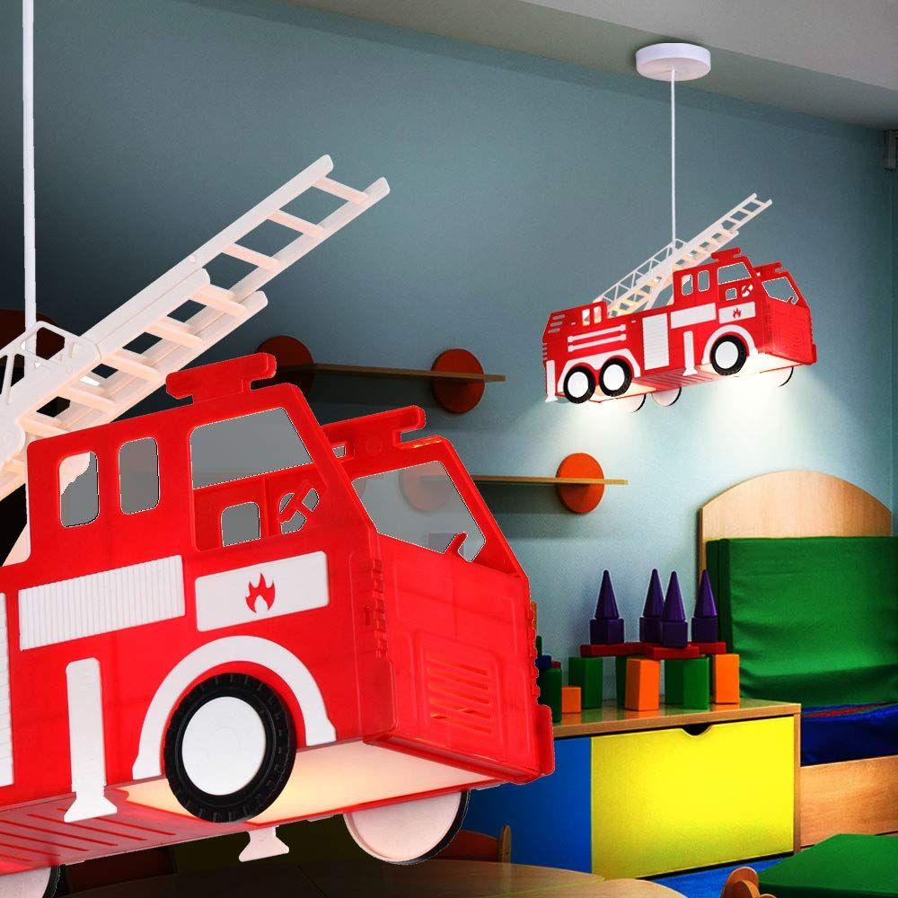 Feuerwehr Auto Als Hange Leuchte Naturlich In Rot Diese Pendel Lampe Fur Kinder Ist Ein Echtes Deko Kinder Lampen Kinder Zimmer Wandgestaltung Kinderzimmer