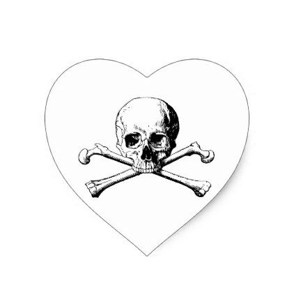 Crossbones skull heart sticker college stickers unique design cool sticker present gift