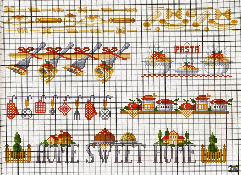 risultati immagini per punto croce schemi cucina ricami
