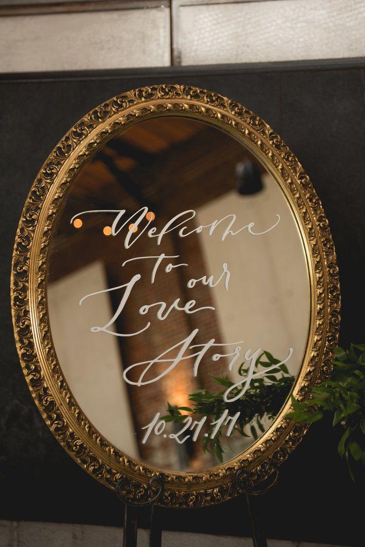 Wedding Wele To Our Love Story Quote Mirror Calligraphy Vinyl Sticker: Wedding Invitation Antique Mirror At Reisefeber.org