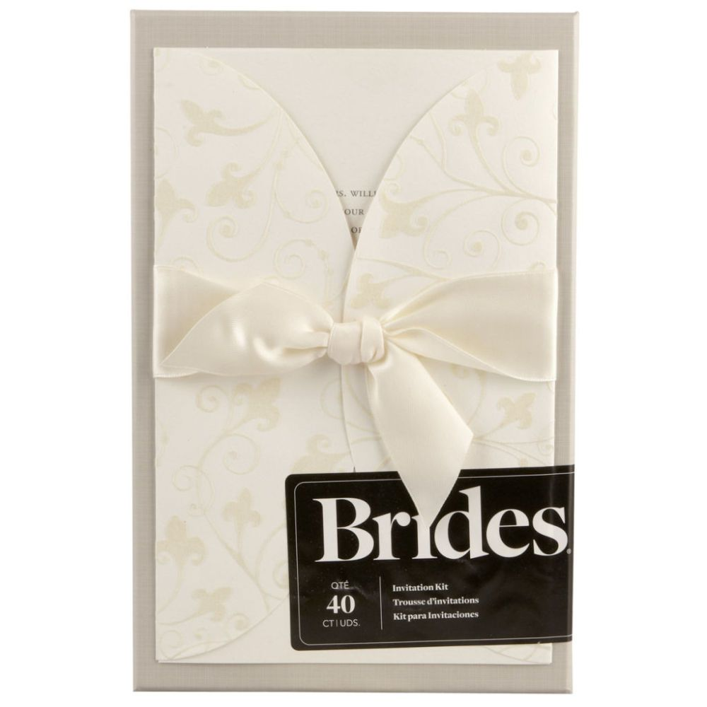 Brides Wedding Invitation Kit: BRIDES® Ivory Invite & Flocked Swirl Jacket Kit