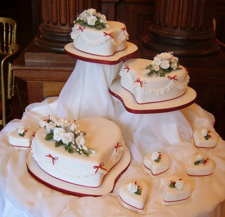 Tier Square Wedding Cake Flowers Heart Shaped Three Country