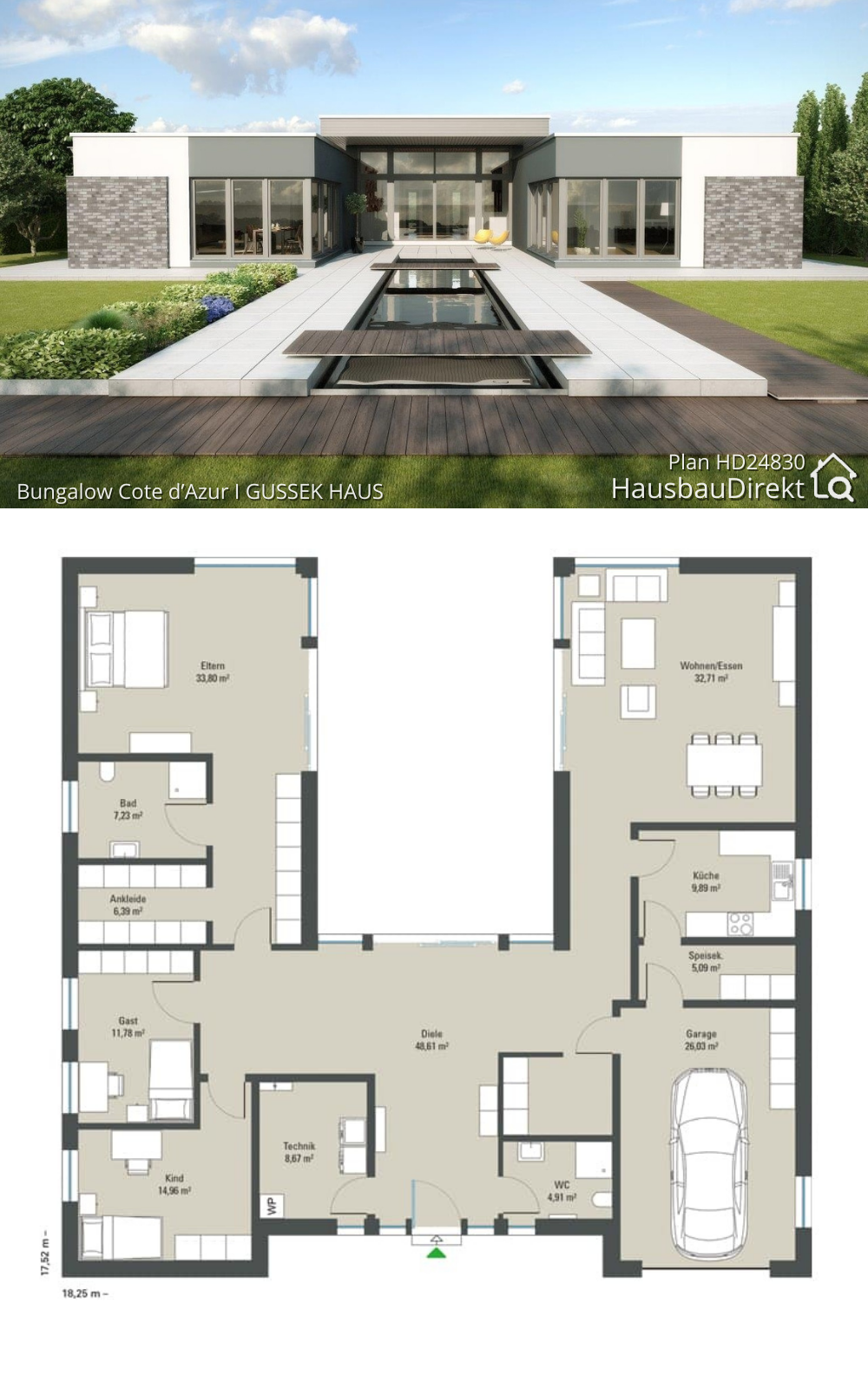 Modern Bungalow House Floor Plans with Flat Roof & Patio Contemporary European Minimalist Design