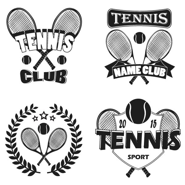 Tennis Labels And Badges Set Logos Tennis Shirts Designs Tennis Tshirts Tennis Uniforms