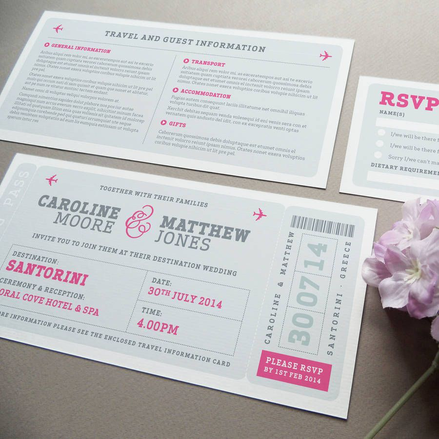 Airline Boarding Pass Wedding Invitation Boarding pass