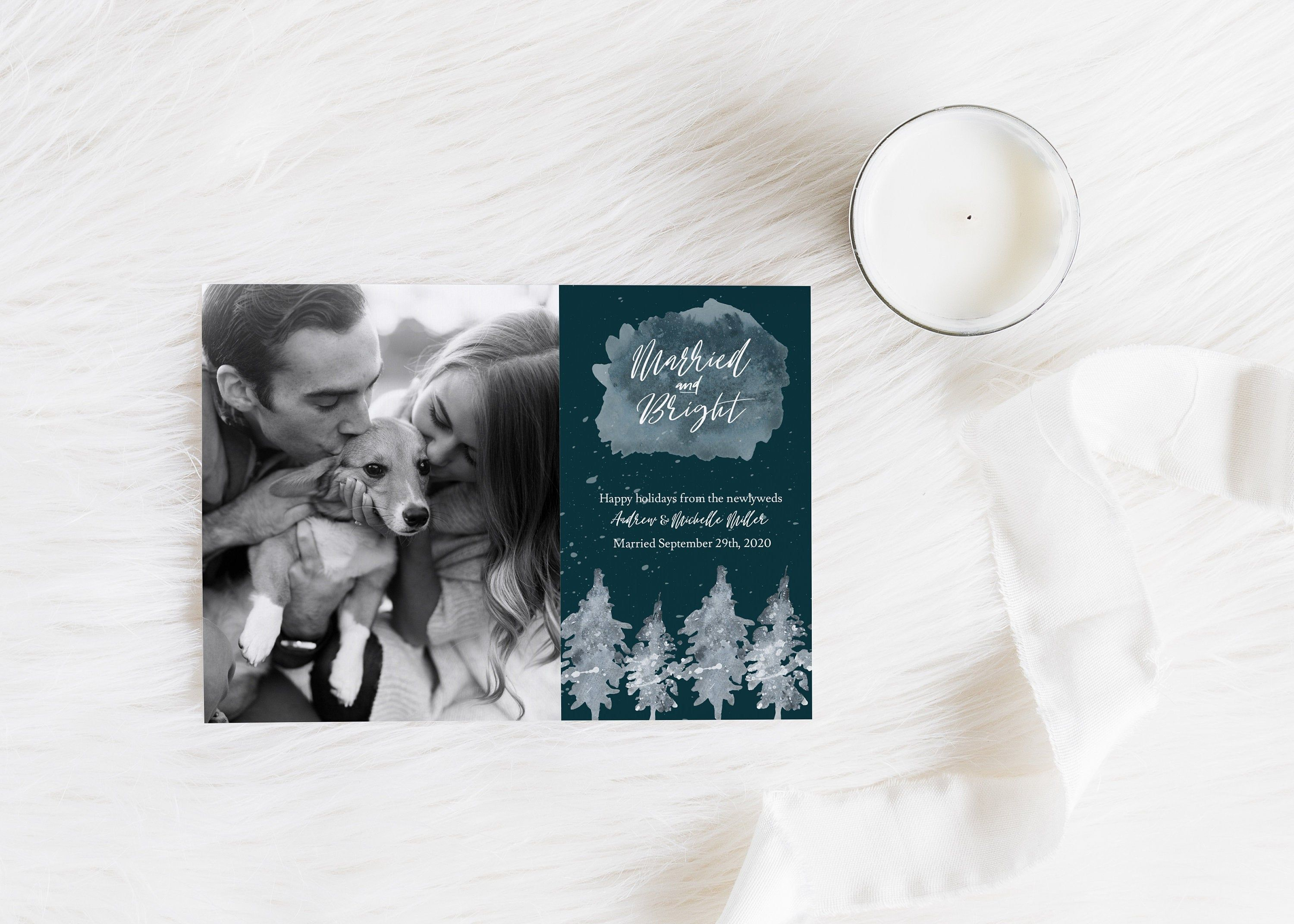 Married And Bright Christmas Card Marriage Announcement Etsy Christmas Card Template Christmas Cards Printable Art Designs