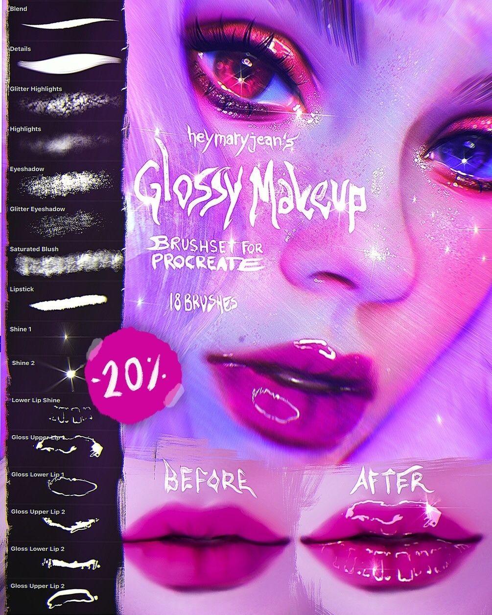 Glossy Makeup Brushset for Procreate by heymaryjean en