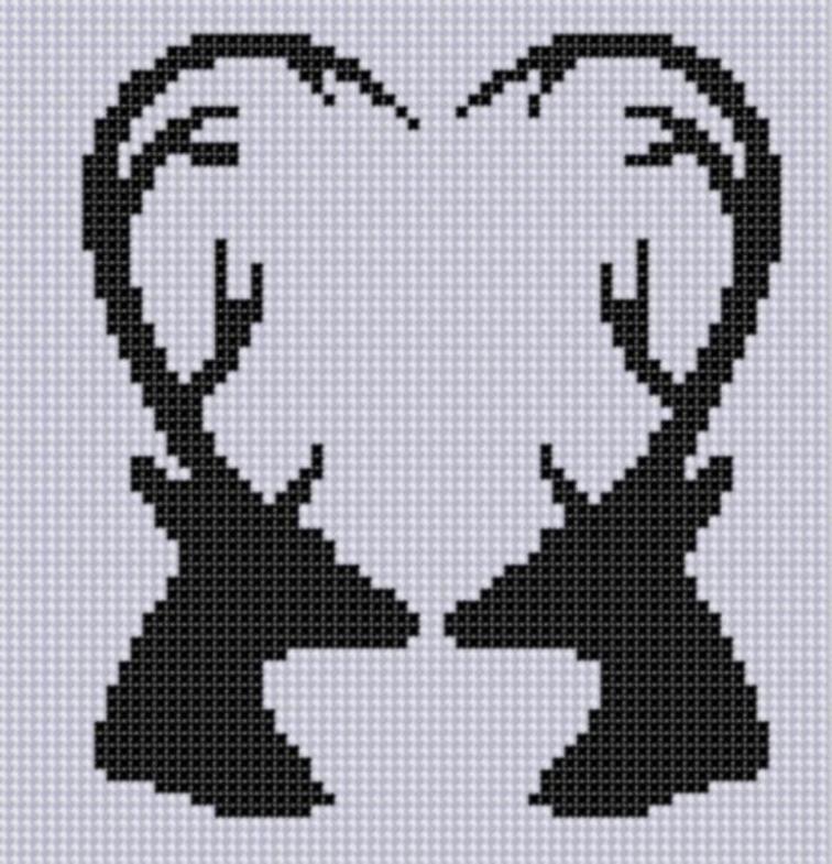 Deer Heart Cross Stitch Pattern | Craftsy