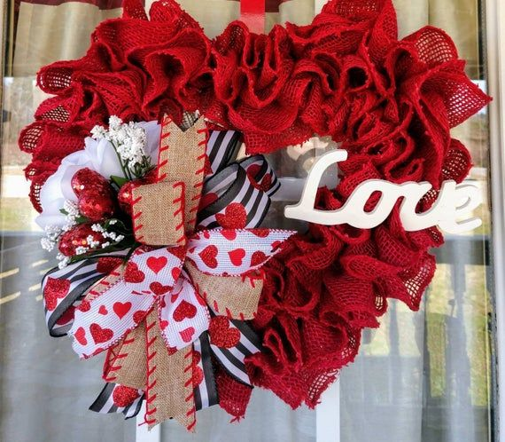 Valentine's Day Heart Burlap Wreath, Valentine's Day Wreath for Front Door, Valentine's Day Gift for Her, Wreaths for Front Door - Valentine wreath, Valentine day wreaths, Burlap wreath, Door wreaths burlap, Valentines day decorations, Mothers day wreath - RossysUniqueDesigns Make sure to  Favorite  my shop so you can see my new wreaths in your Etsy news feed  Thank you for visiting my shop