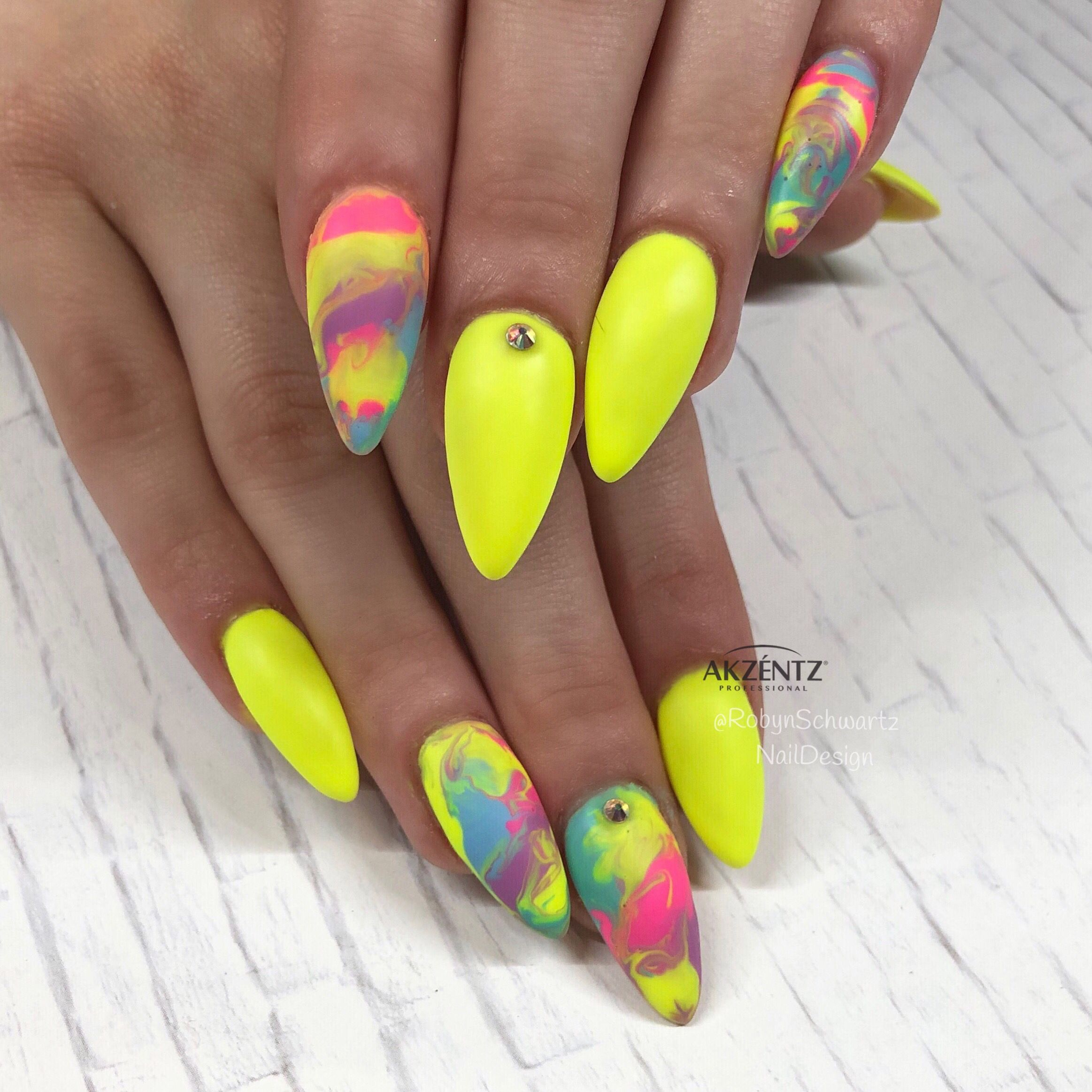 Matte Neon Marble Almond Gel Nails With Images Almond Gel