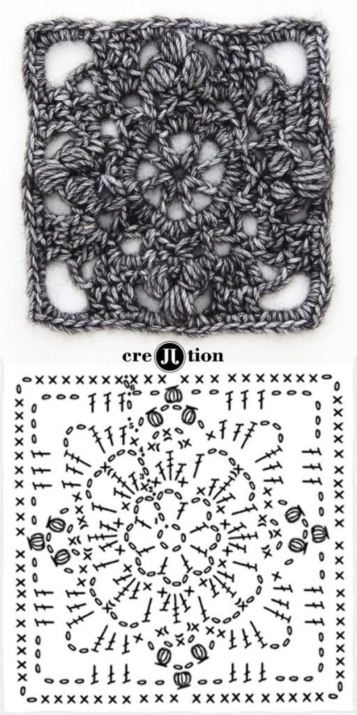 image and crochet diagram flower square poncho by creJJtion ...