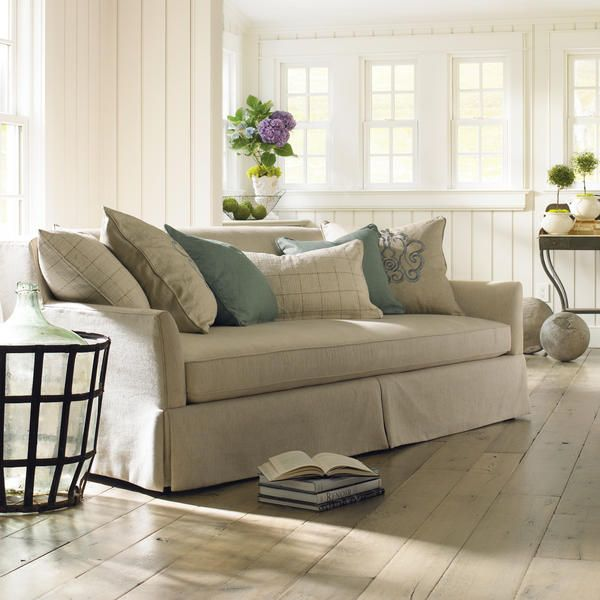 25 Chic And Serene Green Bedroom Ideas: Our Family Room Has A Cream Slip Covered Sectional Sofa