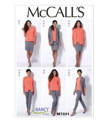 McCall Pattern M7331-E50 Misses' Cardigan, T-Shirt, Pencil Skirt and Leggings-14-16-18-20-22