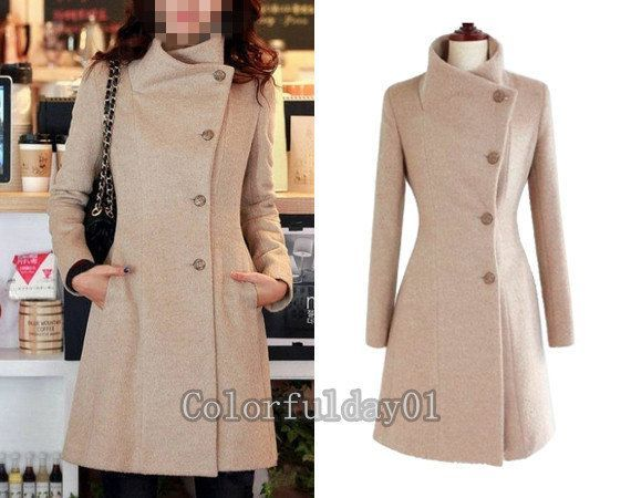 Women Grey Long Wool coat Horn button Coat Jacket Autumn winter