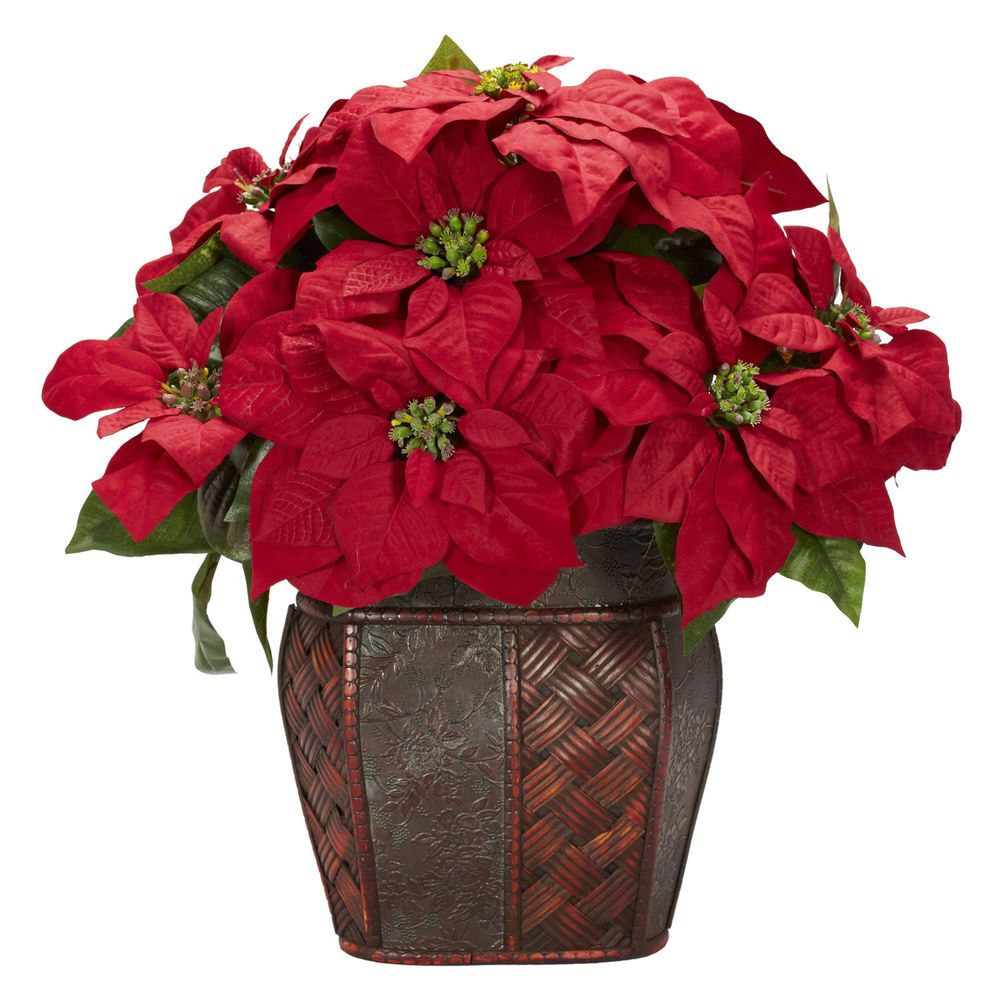 New Christmas Holiday Poinsettia w/Decorative Vase Silk