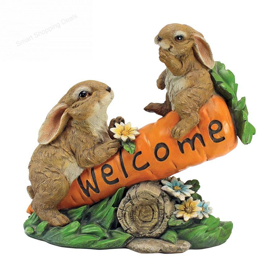 Welcome Statues Garden Welcome Sign Bunny Bunch Statue Garden Statues Outdoor Decoration