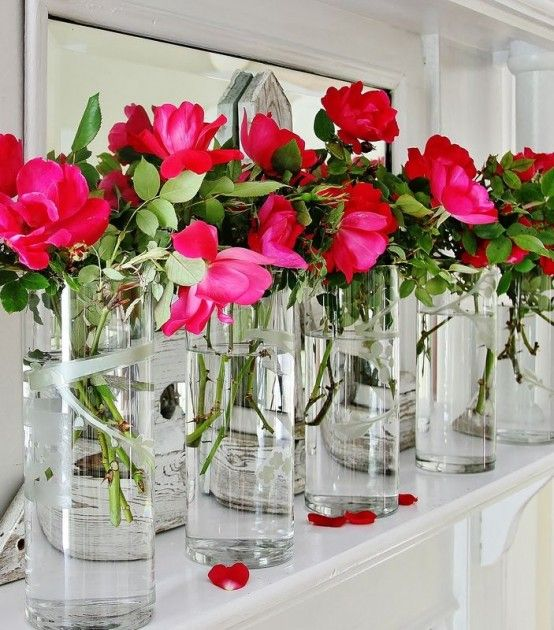 Decoration, Amazing Cheap Summer Mantel Decor Ideas With Roses Fresh Flower  Interior Home Decor: