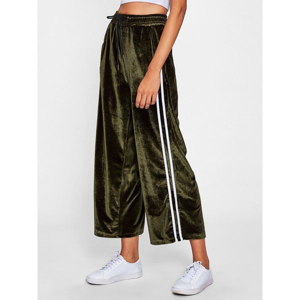 7a8b1239276c4b SheIn(sheinside) Striped Tape Side Velvet Wide Leg Pants (€13) ❤ liked on  Polyvore featuring pants, army green, wide leg cropped pants, cropped  palazzo ...
