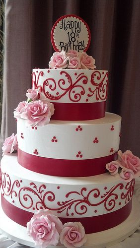 Red piping 18th birthday cake (1813)