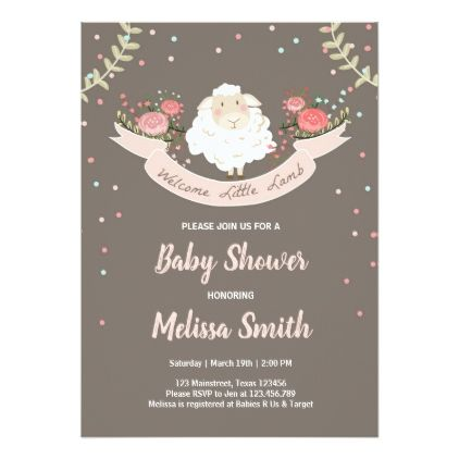 Little lamb baby shower invitation pink spring lamb baby showers little lamb baby shower invitation pink spring lamb baby showers and shower invitations filmwisefo Image collections