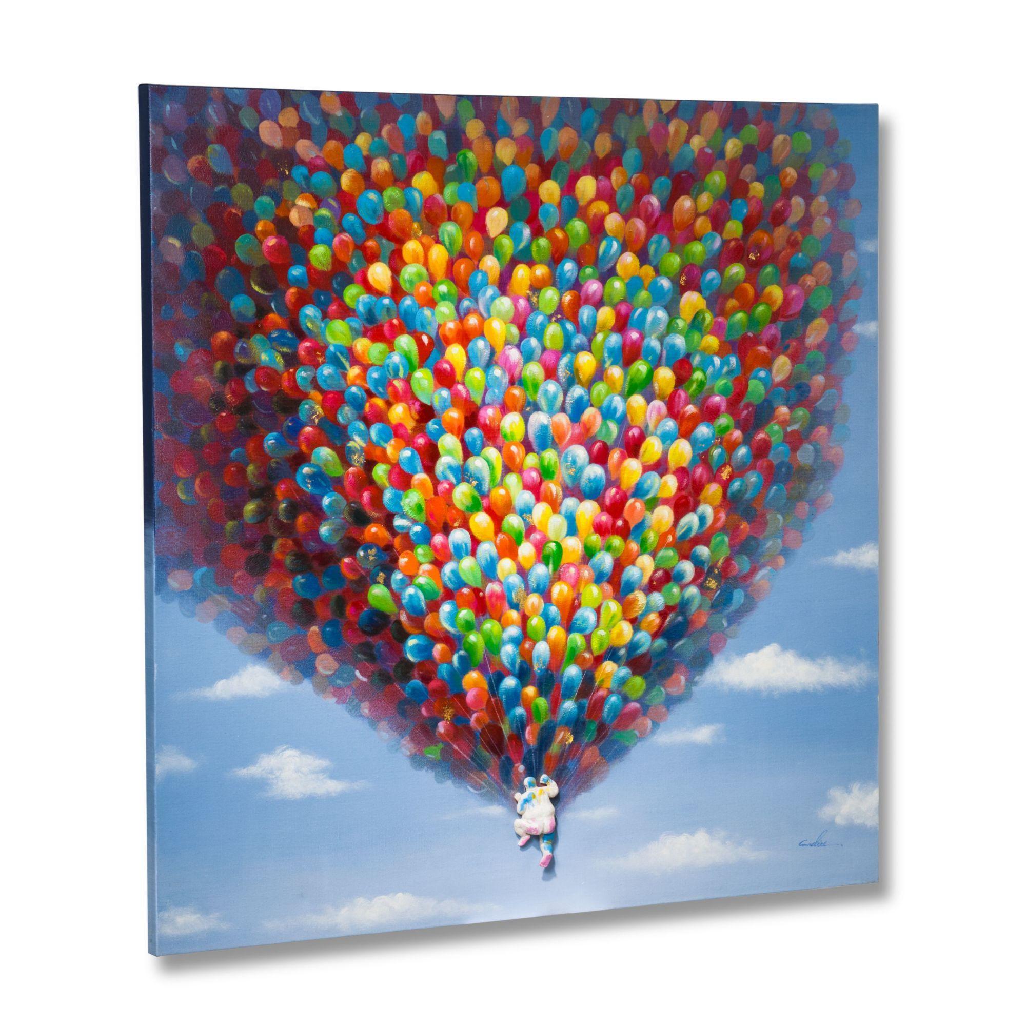 Bild Balloons, Color Blocking, Leinwand, Acryl - Bilder - Dekoration