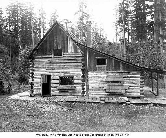 Lindsley Family Log Cabin Near Present Day Site Of Northgate Center, Seattle,  Ca.