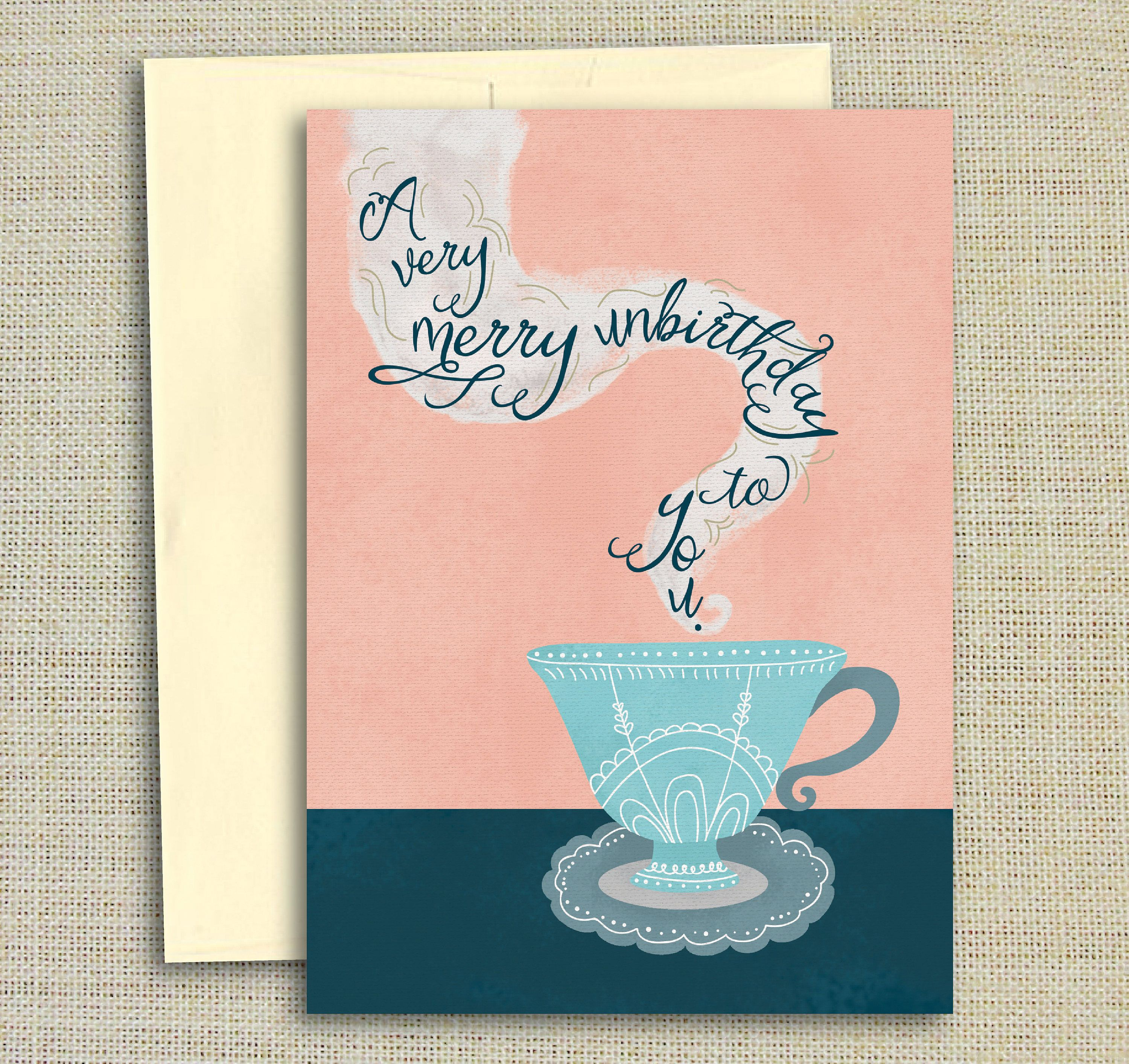 A Very Merry Unbirthday To You Alice In Wonderland Birthday Card Tea Card Mad Hatter Card Birthda Alice In Wonderland Birthday Party Card Birthday Cards