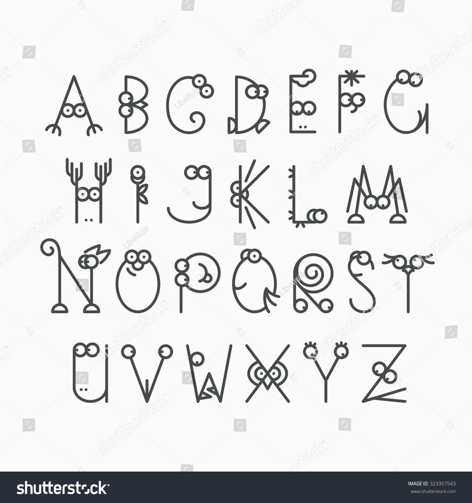 Cute Line Latin Alphabet Isolated Outline Empty Letters For Kids Design
